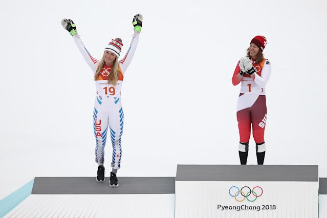 <p>Silver medalist, Mikaela Shiffrin of the United States (L) celebrates with gold medalist, Michelle Gisin of Switzerland (C) on the podium during the Ladies' Alpine Combined on day thirteen of the PyeongChang 2018 Winter Olympic Games at Yongpyong Alpine Centre on February 22, 2018 in Pyeongchang-gun, South Korea. (Photo by Ezra Shaw/Getty Images) </p>
