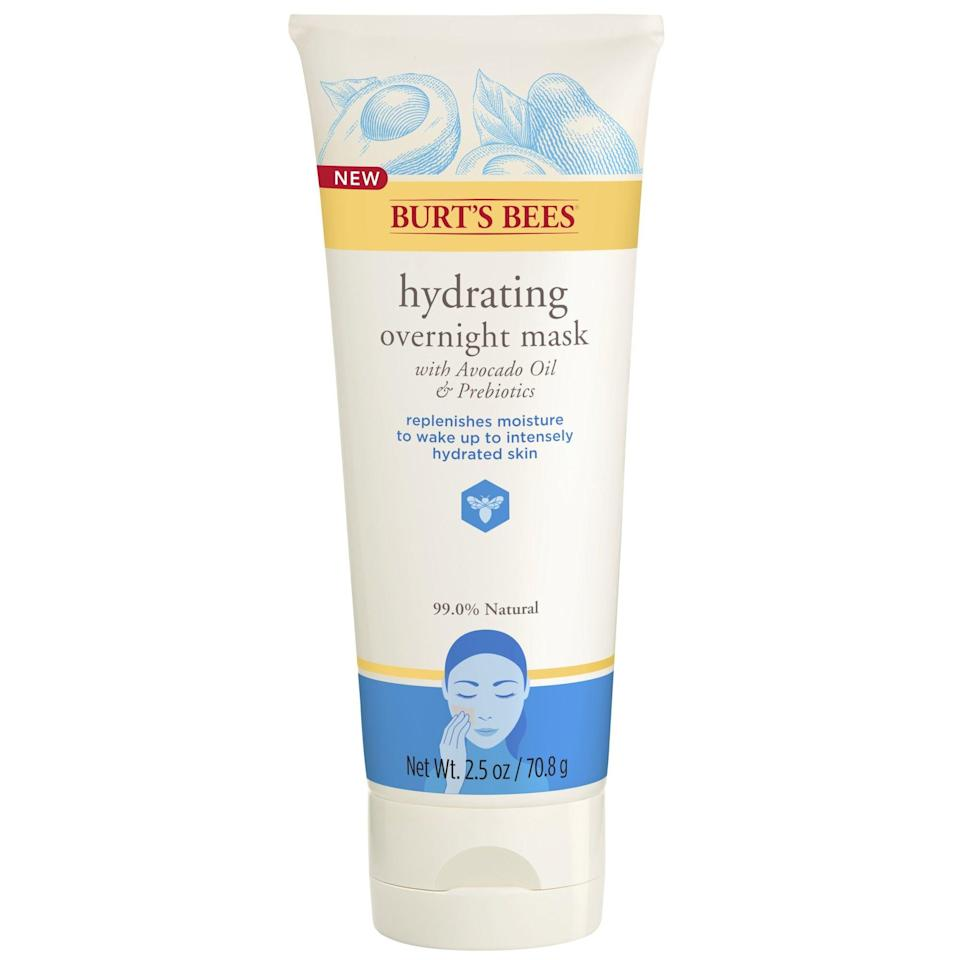 """<p><strong>Burt's Bees</strong></p><p>walmart.com</p><p><strong>$11.99</strong></p><p><a href=""""https://go.redirectingat.com?id=74968X1596630&url=https%3A%2F%2Fwww.walmart.com%2Fip%2F589903971&sref=https%3A%2F%2Fwww.marieclaire.com%2Fbeauty%2Fg26596733%2Fbest-drugstore-face-masks%2F"""" rel=""""nofollow noopener"""" target=""""_blank"""" data-ylk=""""slk:SHOP IT"""" class=""""link rapid-noclick-resp"""">SHOP IT</a></p><p>This overnight mask is like a refreshing glass of water for your skin. This ultra-hydrating, cream-based product is formulated with avocado oil and nourishing fatty acids. It does all of the heavy-duty work while you get your beauty sleep on. In the a.m., you'll awake to soft and supple skin. </p>"""