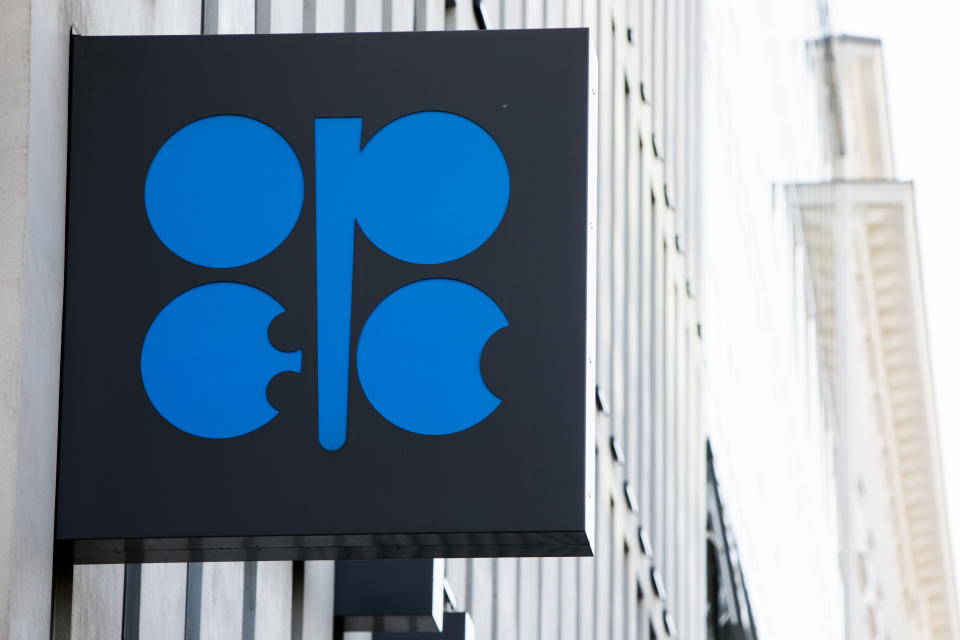 A logo sign outside of the headquarters of The Organization of the Petroleum Exporting Countries (OPEC) in Vienna, Austria, on September 6, 2018. (Photo by Kristoffer Tripplaar/Sipa USA)