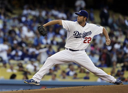 Los Angeles Dodgers starter Clayton Kershaw pitches to the Pittsburgh Pirates in the first inning of a baseball game in Los Angeles Saturday, April 6, 2013. (AP Photo/Reed Saxon)