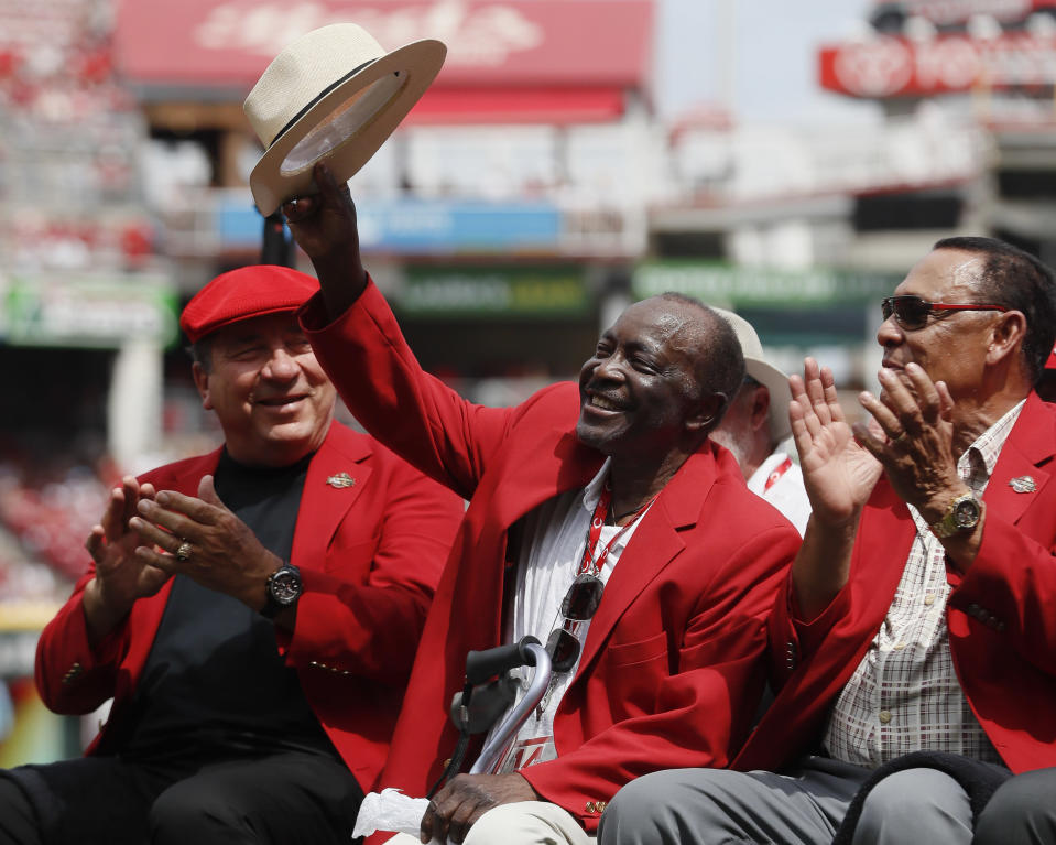 Joe Morgan, seen here waving his hat to the crowd at a Reds game in 2017, has very strong feelings about steroid users in the Hall of Fame. (AP Photo)