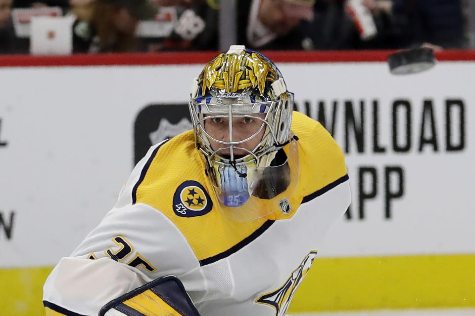 Nashville Predators goalie Pekka Rinne waits for the puck during the first period of an NHL hockey game against the Chicago Blackhawks in Chicago, Friday, Feb. 21, 2020. (AP Photo/Nam Y. Huh)