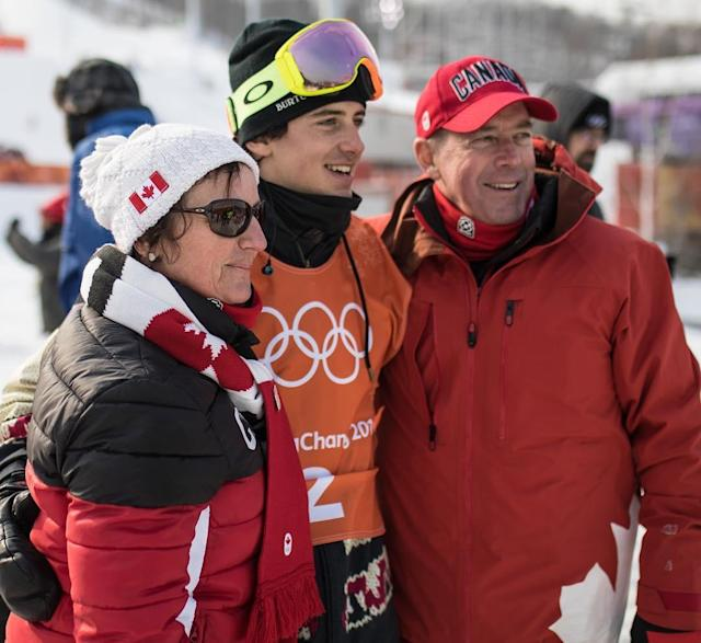 <p>Canadian Mark McMorris took home his second bronze medal in the slopestyle competition. Here, he embraces his parents ahead of a training run. (Instagram | @markmcmorris ) </p>