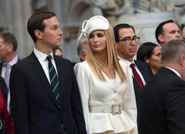 PHOTO: Ivanka Trump and Jared Kushner look on as President Donald Trump, places a wreath on the Grave of the Unknown Warrior during a visit to Westminster Abbey, June 3, 2019, in London. (Stefan Rousseau/Getty Images)