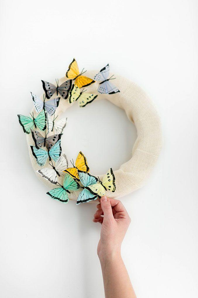 """<p>Along with all those flowers outside, butterflies have returned! Make them look as if they're taking flight by crafting this fluttery wreath.</p><p><strong>Get the tutorial at <a href=""""https://www.dreamgreendiy.com/2017/02/21/diy-butterfly-wreath-for-spring/"""" rel=""""nofollow noopener"""" target=""""_blank"""" data-ylk=""""slk:Dream Green DIY"""" class=""""link rapid-noclick-resp"""">Dream Green DIY</a>.</strong></p><p><a class=""""link rapid-noclick-resp"""" href=""""https://go.redirectingat.com?id=74968X1596630&url=https%3A%2F%2Fwww.walmart.com%2Fsearch%2F%3Fquery%3Dfoam%2Bwreaths&sref=https%3A%2F%2Fwww.thepioneerwoman.com%2Fhome-lifestyle%2Fcrafts-diy%2Fg35698457%2Fdiy-easter-wreath-ideas%2F"""" rel=""""nofollow noopener"""" target=""""_blank"""" data-ylk=""""slk:SHOP FOAM WREATHS"""">SHOP FOAM WREATHS</a></p>"""