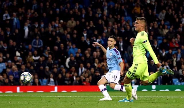 Manchester City's Phil Foden scores his side's second goal of the game Manchester City v Dinamo Zagreb - UEFA Champions League - Group C - Etihad Stadium 01-10-2019 . (Photo by Tim Goode/EMPICS/PA Images via Getty Images)
