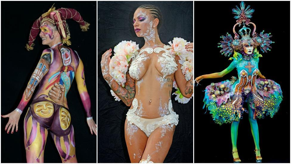 Nude models pose for world bodypainting festival