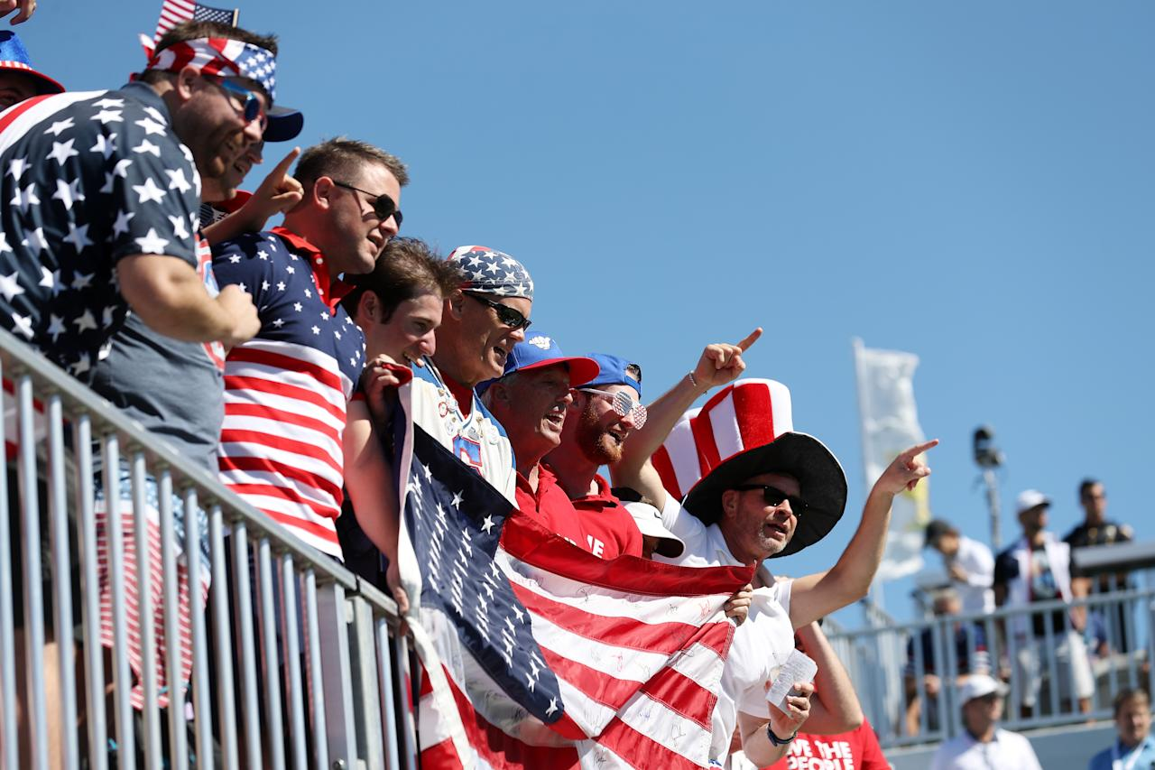 <p>Fans of the U.S. Team look on over the first tee prior to Thursday foursomes matches of the Presidents Cup at Liberty National Golf Club on Sept. 28, 2017 in Jersey City, N.J. (Photo: Rob Carr/Getty Images) </p>