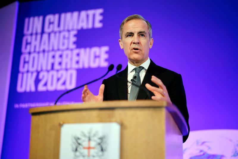 FILE PHOTO: Mark Carney, Governor of the Bank of England, makes a keynote address to launch the private finance agenda for the 2020 United Nations Climate Change Conference (COP26) at Guildhall in London