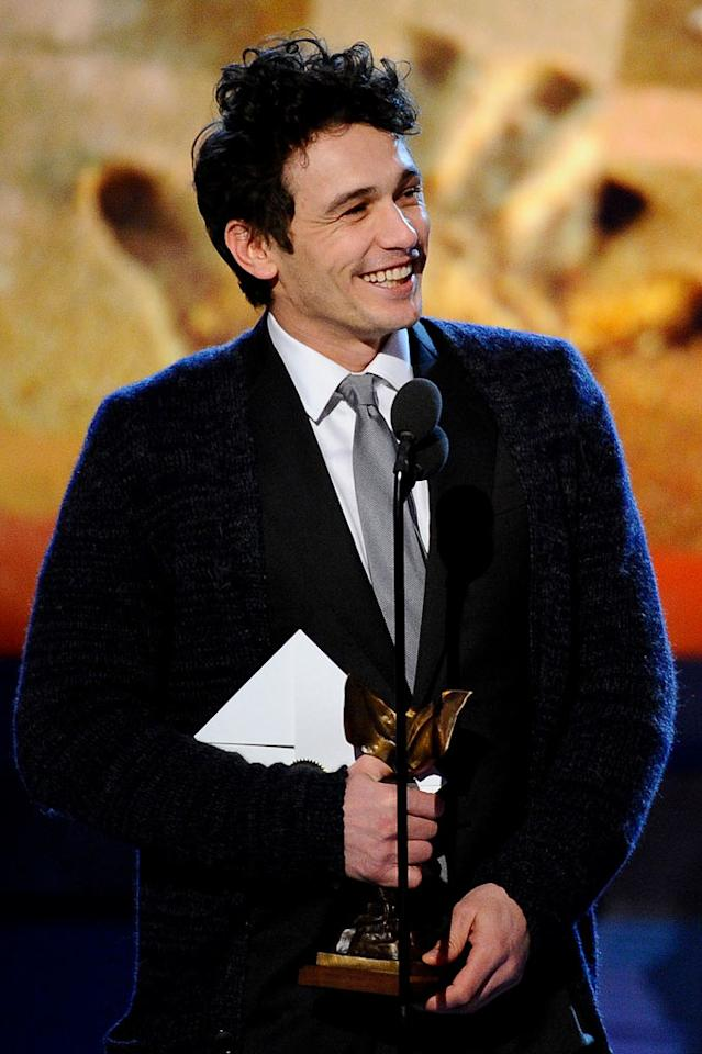 """WORST: Cold Tent and Slippery Stage — We get that these are independent films, but could they not afford to heat the giant tent they held the ceremony in? Everyone who set foot on stage commented on how cold it was, and James Franco actually wore a cardigan over his suit. <a href=""""http://www.televisionwithoutpity.com/show/award_shows/independent_spirit_awards_2011.php?__source=tw