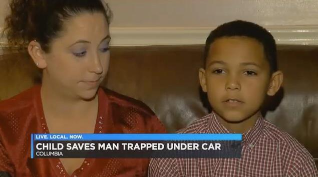 Nine-year-old Malachi, who came to his neighbor's rescue. (Screenshot: WIS TV)
