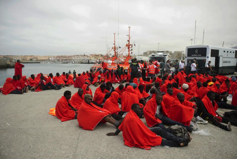 Image result for Spanish Maritime troops rescue 55 migrants