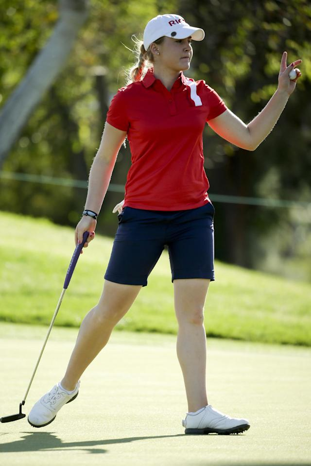 Charley Hull, of England, waves after a birdie on the 16th hole during the third round of the Kraft Nabisco Championship golf tournament on Saturday, April 5, 2014, in Rancho Mirage, Calif. (AP Photo/Chris Carlson)