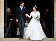 <p>The design boasted a cold-shoulder neckline, long sleeves, and a full, princess-style skirt. Photo: Getty </p>