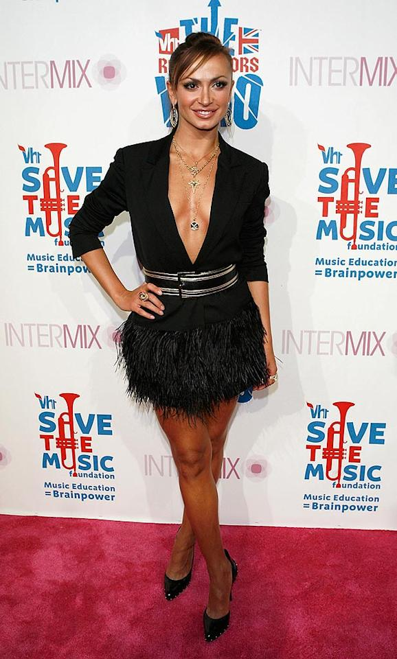 """Dancing With the Stars'"" Karina Smirnoff clearly has a great physique, but proved that she also has a bad sense of style in this black, feathery mess of a dress. Jean Baptiste Lacroix/<a href=""http://www.wireimage.com"" target=""new"">WireImage.com</a> - July 11, 2008"