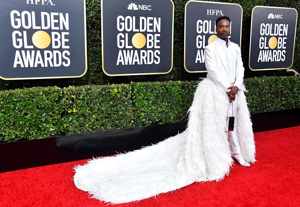 NATURALLY, BILLY PORTER WORE A LONG FEATHERED TRAIN.