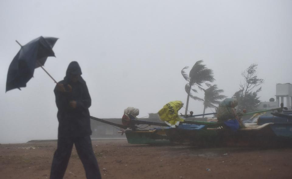 Strong winds ahead of the landfall of Cyclone Nivar, in Kovalam, Wednesday, 25 November.
