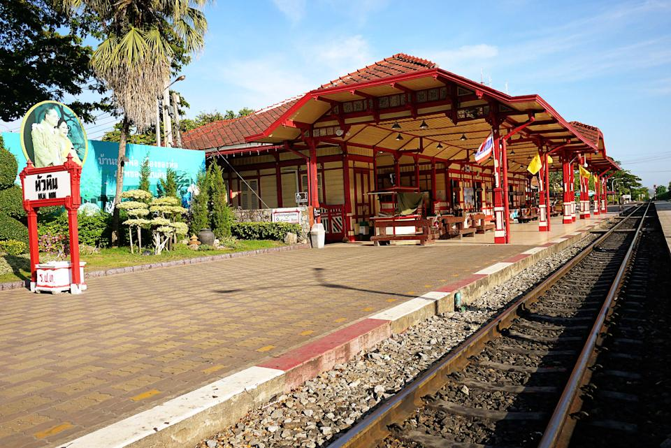 <p>With its unique architecture and red-and-cream pavilion, the Hua Hin Railway Station is one of the most photographed landmark. If you take a train from Bangkok to Hua Hin (which takes about four hours and cost roughly 300 baht for a non air-conditioned 2nd class ticket), this is your stop, which makes the long trip quite worthwhile.</p>