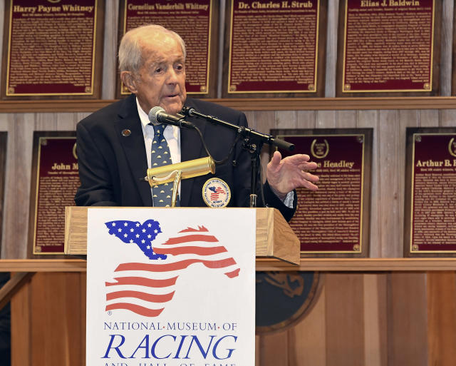 "FILE - In this Aug. 3, 2018, file photo, W. Cothran ""Cot"" Campbell speaks during induction ceremonies for the National Museum of Racing and Hall of Fame in Saratoga Springs, N.Y. Campbell, who pioneered the concept of shared ownership of thoroughbred race horses and was a longtime advocate for the American racing industry, has died. He was 91. He died Saturday, Oct. 27, 2018, at his home in Aiken, South Carolina, the New York Racing Association said Sunday. (AP Photo/Hans Pennink, File)"