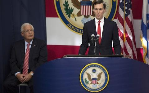 <span> Senior White House Advisor Jared Kushner speaks at the opening of the US embassy in Jerusalem</span> <span>Credit: Lior Mizrahi/Getty </span>