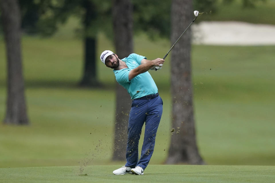 Denny McCarthy hits along the first fairway during the first round of the Sanderson Farms Championship golf tournament in Jackson, Miss., Thursday, Sept. 30, 2021. (AP Photo/Rogelio V. Solis)