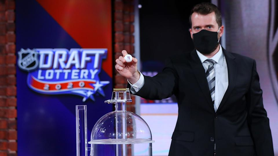 SECAUCUS, NEW JERSEY - AUGUST 10: The New York Rangers  are selected No. 1 during Phase 2 of the 2020 NHL Draft Lottery on August 10, 2020 at the NHL Network's studio in Secaucus, New Jersey. (Photo by Mike Stobe/NHLI via Getty Images)