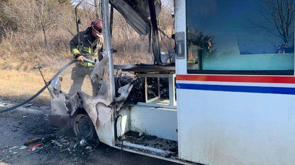 PHOTO: Osawatomie Volunteer Fire Department put out a fire in a mail truck, Dec. 22, 2019, in Osawatomie, Kansas. (Osawatomie Volunteer Fire Department via Facebook)