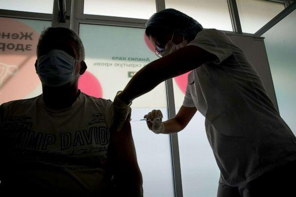 PHOTO: A man receives a dose of Sputnik V (Gam-COVID-Vac) vaccine against the coronavirus disease (COVID-19) in Moscow, Russia, July 15, 2021. (Tatyana Makeyeva/Reuters)
