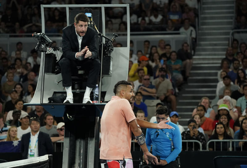 Nick Kyrgios didn't like that he got a time violation during his third-round match at the Australian Open, and he let the umpire know about it. (REUTERS/Kim Hong-Ji)