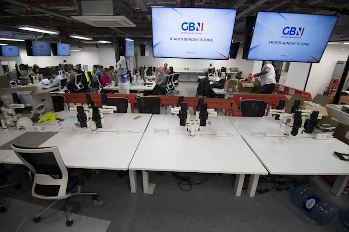 Located within The Point at Paddington, north London, the new British television news channel GB News which is under construction. The channel will launch at 8pm on June 13 with a special programme called Welcome To GB News. Picture date: Tuesday June 8, 2021.