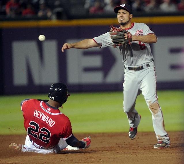 Washington Nationals second baseman Anthony Rendon (6) forces out Atlanta Braves' Jason Heyward (22) but throws an error to first base allowing Paul Janish to score and and Justin Upton on first during the third inning of a baseball game in Atlanta, Friday, Aug. 16, 2013. (AP Photo/John Amis)