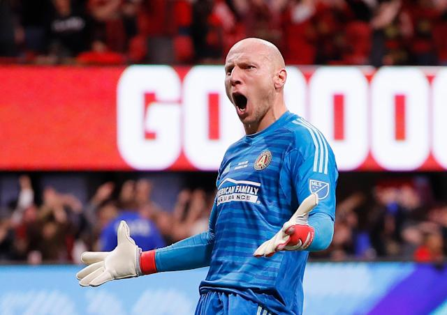 "Atlanta United goalkeeper Brad Guzan celebrates <a class=""link rapid-noclick-resp"" href=""/soccer/players/383782/"" data-ylk=""slk:Josef Martinez"">Josef Martinez</a>'s eventual MLS Cup-winning goal against the <a class=""link rapid-noclick-resp"" href=""/soccer/teams/portland-timbers/"" data-ylk=""slk:Portland Timbers"">Portland Timbers</a>. (Kevin C. Cox/Getty)"