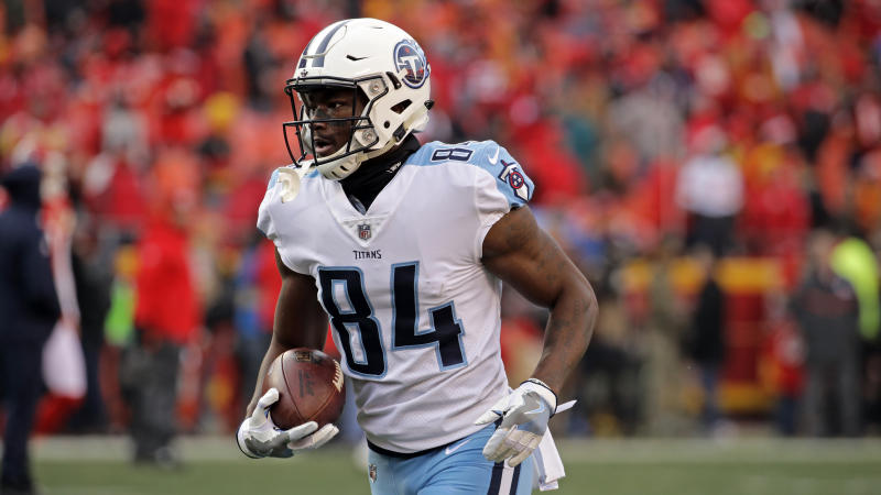 Tennessee Titans wide receiver Corey Davis made his first career touchdown catch in a playoff game against the Patriots. (AP)