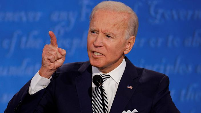 Joe Biden speaks as he participates in the first 2020 presidential campaign debate with U.S. President Donald Trump held on the campus of the Cleveland Clinic at Case Western Reserve University in Cleveland, Ohio, U.S., September 29, 2020. (Brian Snyder/Reuters)