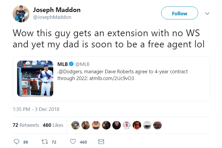 Screenshot of Joseph Maddon's tweet.