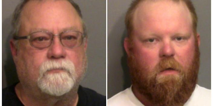 <br>Gregory, left, and Travis McMichael, right, are seen in their booking photos.