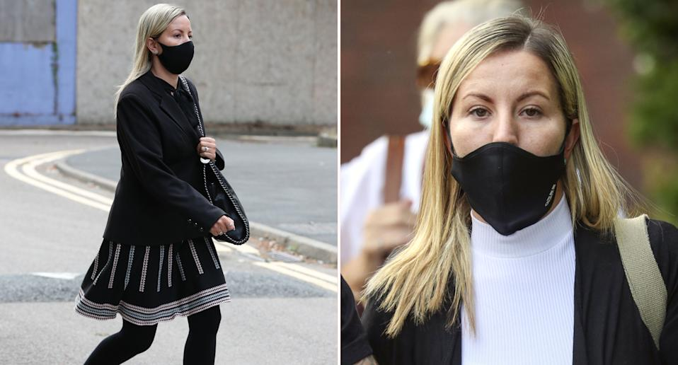Marrried teacher Kandice Barber, 35, arrives at Aylesbury Crown Court, Buckinghamshire, where she is appearing accused of engaging in illegal sexual activity with a 15-year-old boy.