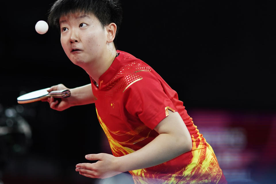 China's Sun Yingsha serves against countrywoman Chen Meng during the gold medal match of the table tennis women's singles at the 2020 Summer Olympics, Thursday, July 29, 2021, in Tokyo. (AP Photo/David Goldman)