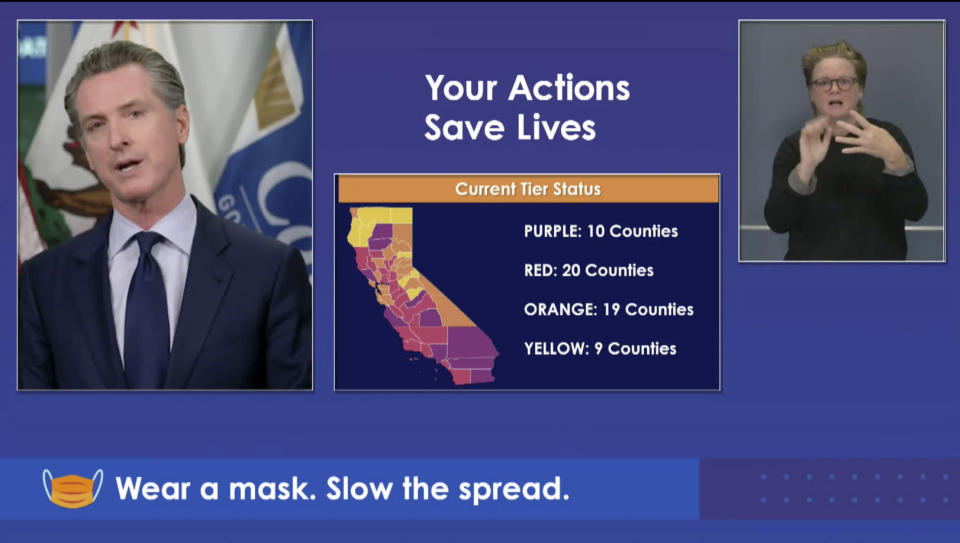 In this Nov. 9, 2020 file photo California Gov. Gavin Newsom conducts his weekly news conference in this photo from an internet stream provided by the Office of the Governor in Sacramento, Calif. Newsom is facing the second recall of a governor in California history, and the last day to vote is Sept. 14, 2021. The coronavirus has been a dominating factor in the recall, which was first launched last year(Office of the Governor via AP, File)