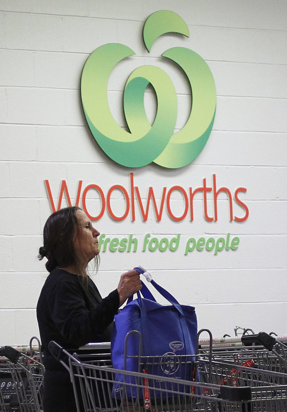 Woman putting groceries in trolley outside a Woolworths store. Source: Getty Images