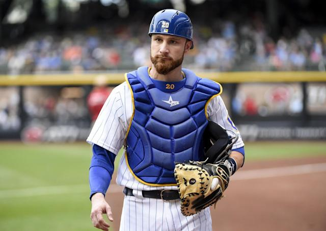 """<a class=""""link rapid-noclick-resp"""" href=""""/mlb/players/8609/"""" data-ylk=""""slk:Jonathan Lucroy"""">Jonathan Lucroy</a> remains in Milwaukee for now after vetoing trade to Cleveland. (AP)"""