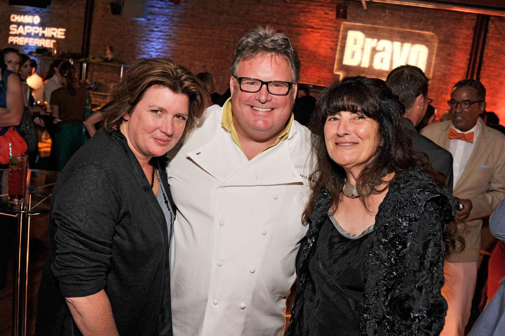 "Lynn Crawford, David Burke, and Ruth Reichl attend the ""Top Chef Masters"" Season 5 Premiere Tasting Event presented by Chase Sapphire Preferred at 82 Mercer on Tuesday, July 16, 2013 in New York."