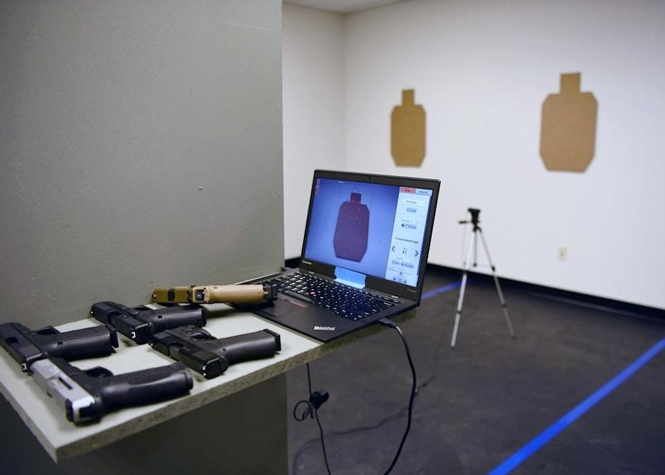 A view of the digital setup at 1770 Armory and Gun Club, Colorado's first Black-owned shooting range, Saturday, Oct. 24, 2020 in Denver. (Rachel Ellis/The Denver Post via AP)