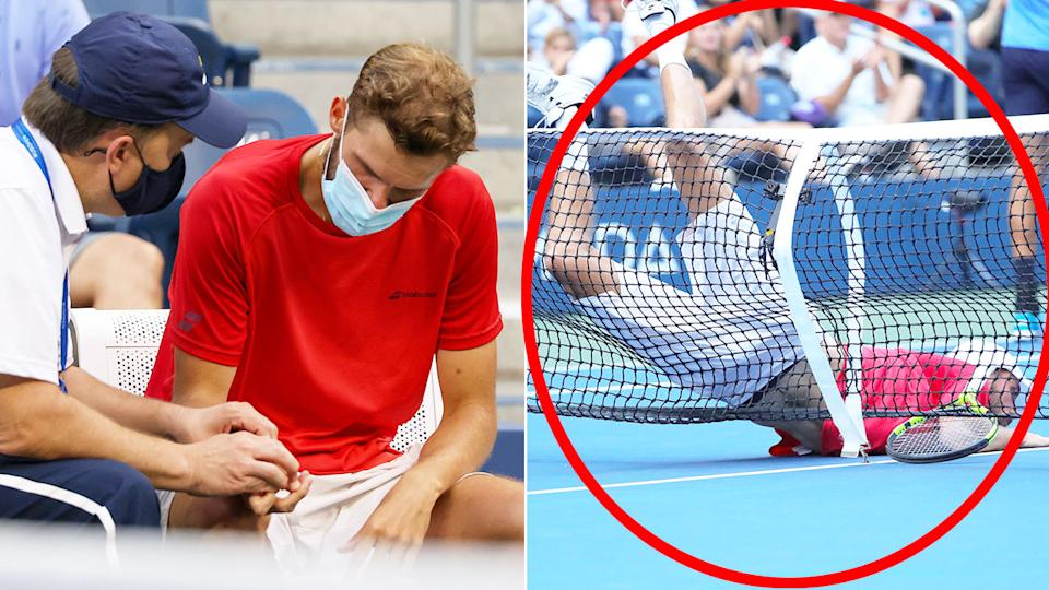 Pictured here, Oscar Otte is treated for a wrist injury in the US Open fourth round.