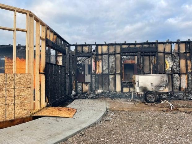 Innu Nation office in Sheshatshiu was under renovation. A large fire caused extensive damage to the building Wednesday evening. (Regan Burden/CBC - image credit)
