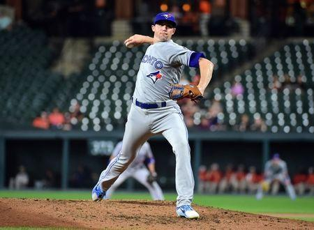 Sep 18, 2018; Baltimore, MD, USA; Toronto Blue Jays pitcher Aaron Sanchez (41) throws a pitch in the second inning against the Baltimore Orioles at Oriole Park at Camden Yards. Mandatory Credit: Evan Habeeb-USA TODAY Sports