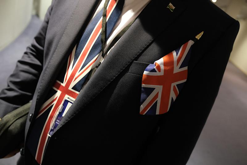"A pro-Brexit MP of the European Parliament wears a Union Jack tie following a historic vote for the Brexit agreement at a session of the European Parliament that paves the way for an ""orderly"" departure of the United Kingdom from the EU on January 29, 2020 in Brussels, Belgium. The United Kingdom is expected to officially leave the European Union on January 31. (Photo by Sean Gallup/Getty Images)"