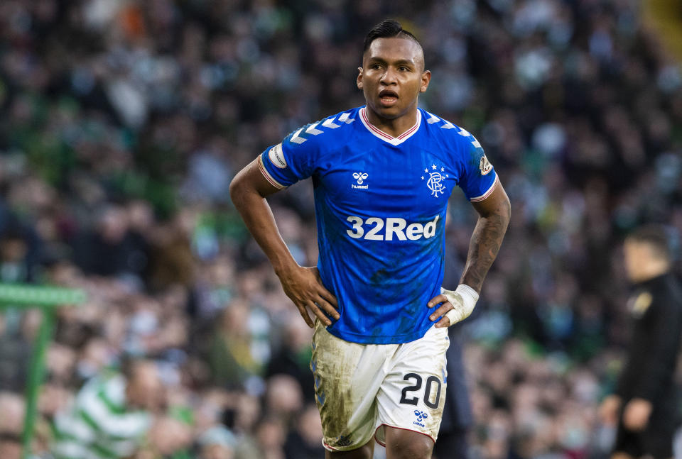 GLASGOW, SCOTLAND - DECEMBER 29: Alfredo Morelos in action for Rangers during the Ladbrokes Premiership match between Celtic and Rangers at Celtic Park on December 29, 2019 in Glasgow, Scotland. (Photo by Alan Harvey / SNS Group via Getty Images)
