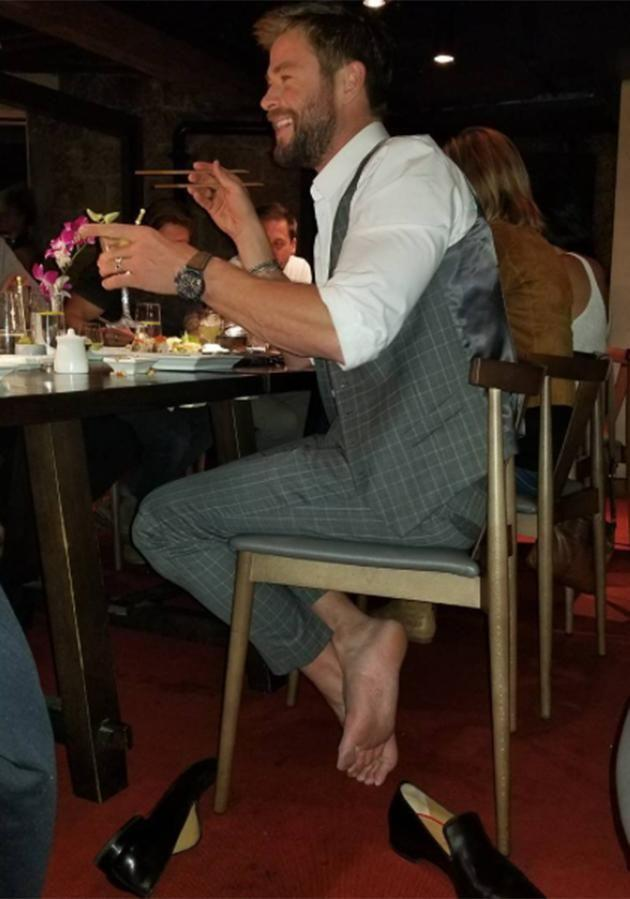 New Zealand director Taika took the sneaky snap of Chris while he had his shoes off. Source: Instagram
