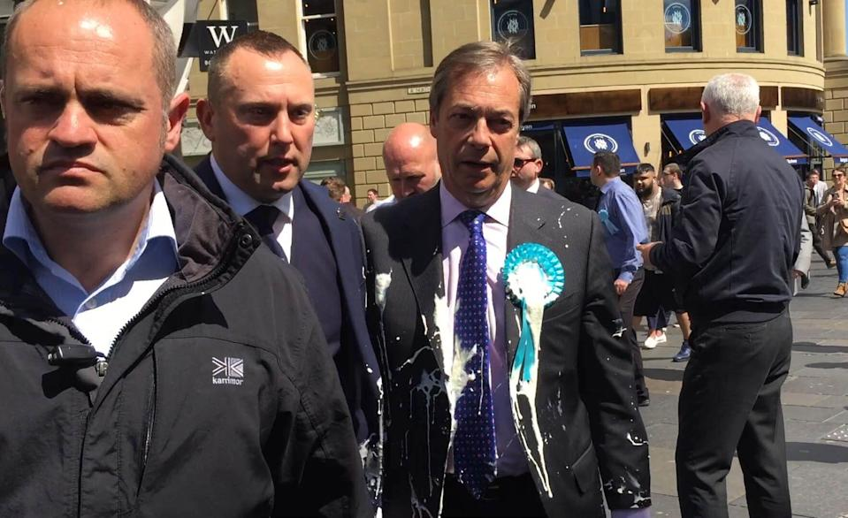 Nigel Farage after he was doused in milkshake during a campaign walkabout in Newcastle (Picture: PA)